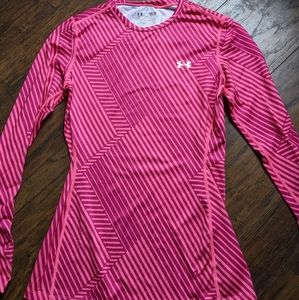 Under Armour ColdGear Fitted Pink Stripe Top